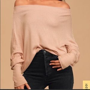 Lulus Blush Pink Over the Shoulder Waffle Knit Top